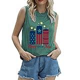 Mayntop Camiseta de manga corta para mujer con diseño de bandera de Estados Unidos con texto en inglés 'God Bless' para el 4 de julio, C-verde, 40