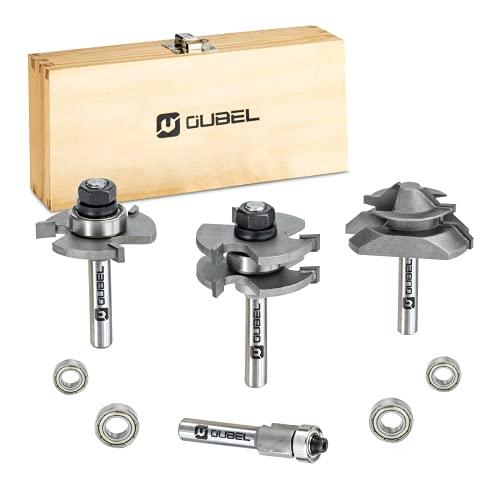 OUBEL Fräser Set, 4-teilig Oberfräser Set, 8mm Fräser Set passend für Elektro Oberfräsen, Oberfräsen Zubehör, Holzbearbeitungswerkzeuge für Heimwerker und DIY