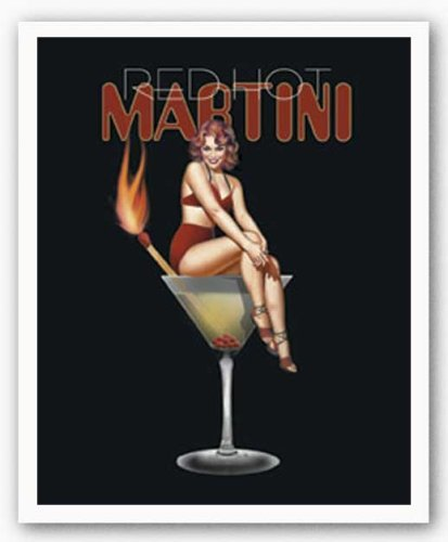Haddads Fine Art Red Hot Martini by Ralph Burch Art Poster Print, Overall Size: 9x11, Image Size: 8x10