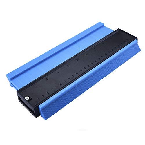 YCZ regla de contorno, calibre de plástico de 10 pulgadas, regla de medición, duplicador de contorno para medición precisa, herramienta de marcado de madera laminada (Azul)