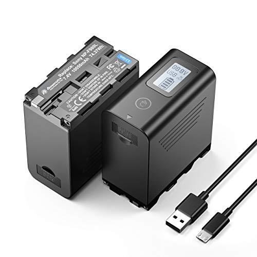 Powerextra 2 Batterie per Sony NP-F980 Batteria da 10050 mAh per Fotocamera Sony F960 F970 F750 F550 con Display a LED Alimentatore Facile da Installare - con Ingresso Micro-USB Uscita USB 5V