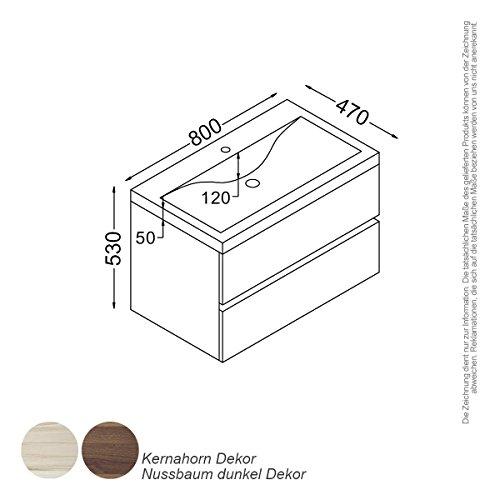 KZOAO Paris Waschtisch-Set 80 cm kernahorn