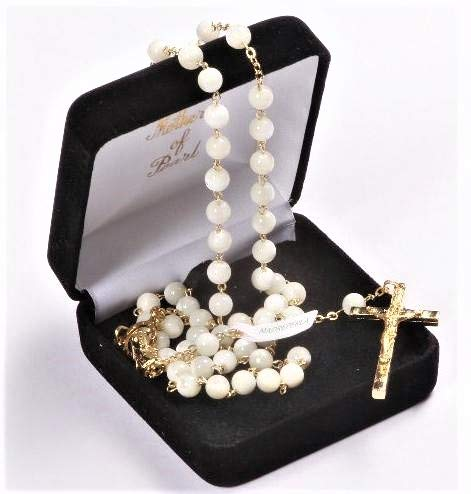 Devotional GiftsUK Mother of Pearl Rosary Beads. Real Pearl Rosary. Pearl Rosary Beads. Italian Rosary Beads