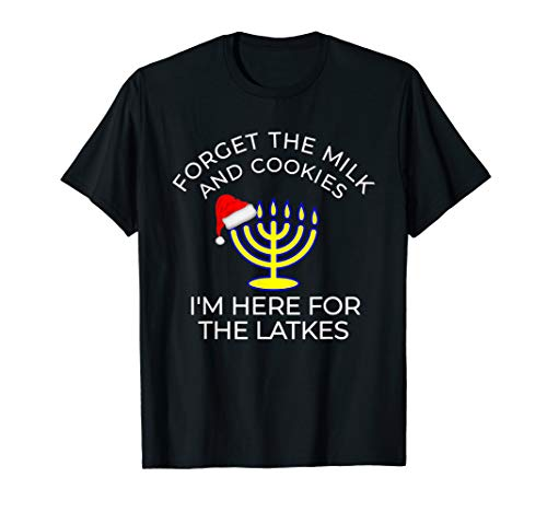 Funny Hanukkah and Christmas Gift Here For The Latkes Tee T-Shirt