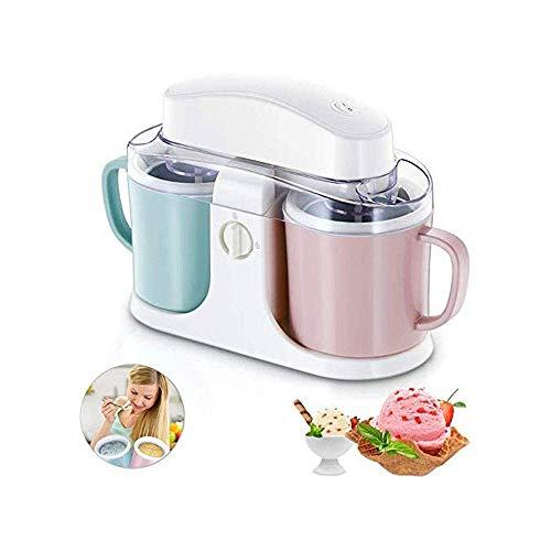 1yess Double Barrel Ice Cream Machine, Accueil Automatique Ice Cream Machine, 1L Idéal for Gelato, Sorbet Yaourt Frozen