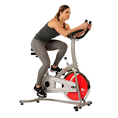 Sunny Health & Fitness SF-B1203 Chain Drive 22 LBS (10 KG) Flywheel Silver Indoor Cycling Trainer Exercise Bike Vélo Stationnaire