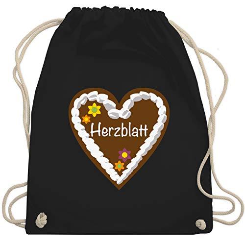 Oktoberfest & Wiesn Taschen - Lebkuchenherz Herzblatt - Unisize - Schwarz - tracht sportbeutel - WM110 - Turnbeutel und Stoffbeutel aus Baumwolle