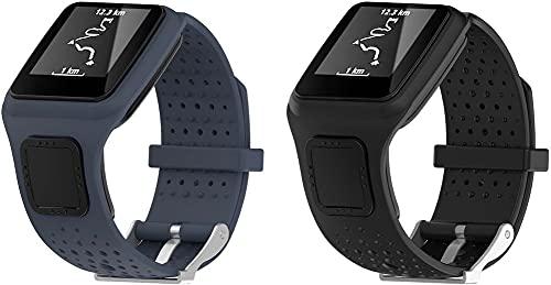 Gransho Repuesto de Correa de Reloj de Silicona Compatible con Tomtom Multi-Sport/Runner, Caucho Fácil de Abrochar para Relojes y Smartwatch (Pattern 3+Pattern 5)