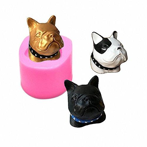 MoldFun French Bulldog Dog Head Silicone Mold for Chocolate, Ice Cube, Fondant, Candle, Plaster, Mini Soap, Wax Crayon Melt, Cake Decorating
