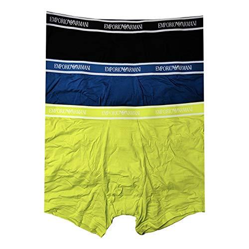Emporio Armani Underwear Herren Multipack - Core Logoband 3-Pack Boxer Boxershorts, Gelb (Sole/BALTICO/Nero 08960), Medium (Herstellergröße:M)