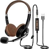 PC Headset mit mikrofon, USB/3,5mm Klinke PC Kopfhörer mit Noise Cancelling Mikrofon & Lautstärkeregler für Call Center, Skype, Office, Telefonkonferenzen, Online-Kurse und Musik, Leicht & Komfortabel