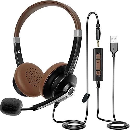 Conambo Casque PC Filaire avec Micro, Casque USB/3,5 mm Annulation du Bruit & Son Stéréo Clair Oreillette pour PC/Mac, Smartphone, Tablette, Skype, Bureau PC/PS3/PS4