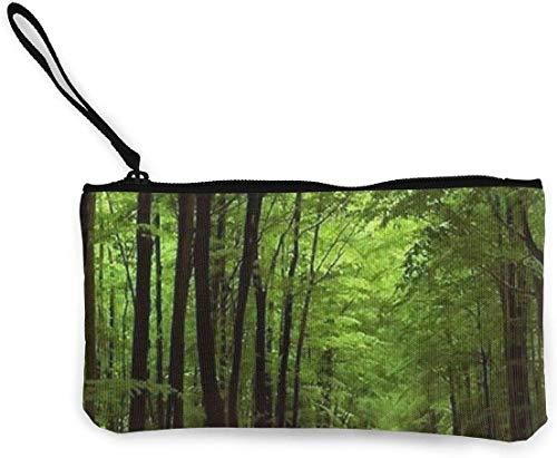 naotaori En lo Profundo del Bosque Vegetación Verde y Espesa Árbol de la Naturaleza Alfombrilla de ratón Alfombrilla de Lona para Mujer Monedero Mini Cambio Monedero Portatarjetas Titular de la tarje