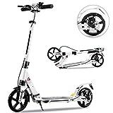 Tenboom Roller Kick Scooter per bambini e adulti, 2 grandi ruote con manubrio regolabile e freno a mano, durevole struttura in alluminio saldato, freno a pedale posteriore (bianco)