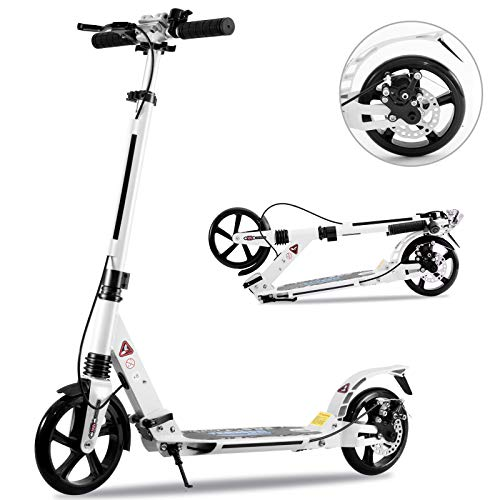 Tenboom Kick Scooter, For Adults, Kids, Disc Brakes, Foot / Hand Brake, Foldable, With Stand, Convenient to Carry, Height Adjustment, For Birthdays, Christmas, New Year, School Celebrations, Present, For Commuting to Work or School Entertainment, White