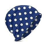 XCNGG Unisex niños Beanie Caps 3D Impreso Azul Marino patrón de Lunares Slouch Skull Cap Hip-Hop Invierno Verano Sombrero Sombreros de Punto para niñas niños