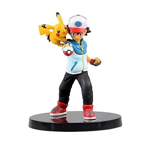 Hoge 13 cm Pokemon Pikachu Xiaozhi en Pikachu Pokemon Boxed Sculpture Gift Model Artwork Anime