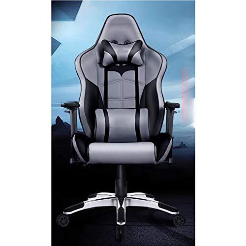 Gaming Stuhl Spiel Stuhl ergonomischer Stuhl Computerstuhl Liege Taille Bürostuhl Ankerstuhl Sportsitz Fledermaus grau silber Gesicht Aluminiumlegierung Fuß