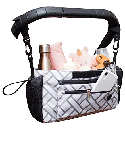 Cozy Care Baby Stroller Organizer with Cup Holders, Easy Installation Change Mat Baby Shower Gift Secure Fit Extra Storage Universal Stroller Organizer Non-slip For Uppababy Vista Cruz Baby Jogger