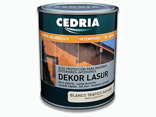 Lasur protector madera exterior al agua Cedria Dekor Lasur 750 ml (Blanco Tráfico)