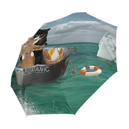 Ahomy Winddichter Reise-Regenschirm mit Zwei Katzen auf Reisen von Waschbecken Regenschirmen, automatischer Schließung, Rutschfester Griff und Schutzhülle
