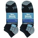 Lonsdale Sneaker Tech 6 pares de calcetines ideales para trekking, carreras, tenis, ciclismo, excelente calidad de algodón (Negro, 35-38)