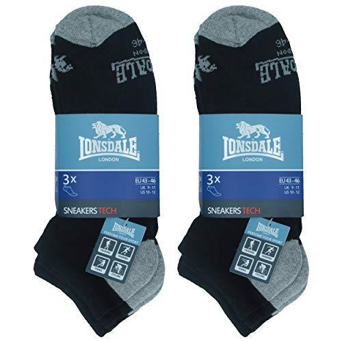 Lonsdale Sneaker Tech 6 Paar ideale Socken für Trekking, Rennen, Tennis, Radfahren, ausgezeichnete Baumwollqualität (Schwarz, 43-46)