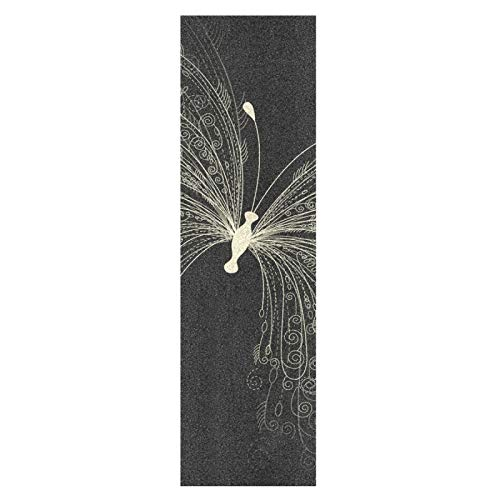 Arte Negro Blanco Mariposa Monopatín Papel de Lija Antideslizante Hoja Cinta de Agarre Lijas para Patineta Scooter Etiquetas engomadas (84 x 23 cm)