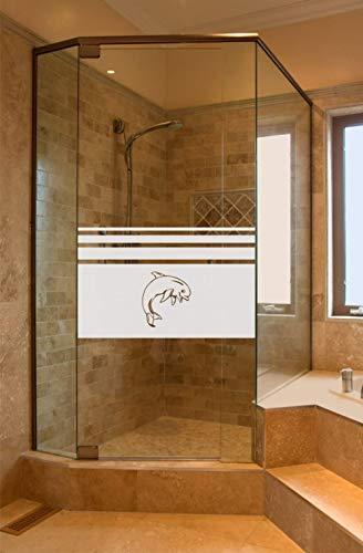 rs-interhandel® Sichtschutz Aufkleber Folie Glasdekorfolie Bad Dusche Duschwand Badezimmer Höhe ca. 50 cm Glasdekor GD651