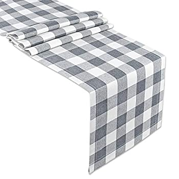 Senneny Buffalo Check Table Runner Cotton Buffalo Plaid Classic Stylish Design for Family Dinner Christmas Holiday Birthday Party Table Home Decoration  Gray and White 14 x 60 Inch