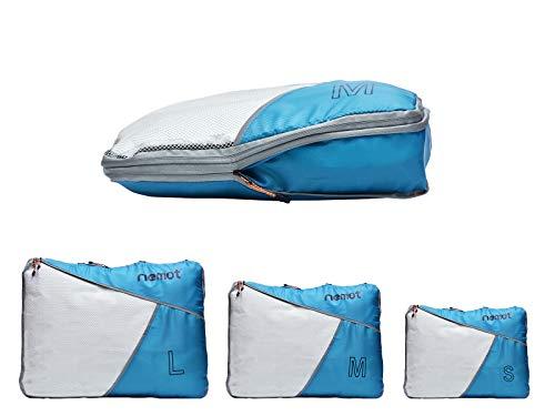 Packing Cubes de Compresión, Organizadores de Equipaje, 3 Set Organizador para Maletas, Bolsas para Ropa Zapato Sucia de Viaje, Accesorios para Viajes de Riemot Azul