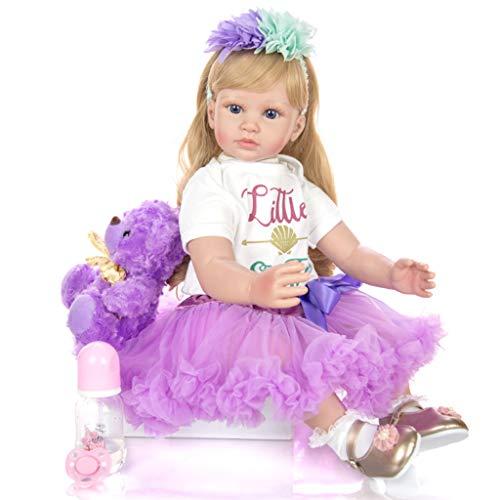 Handgemacht Reborn Baby Blaue Augen 60Cm Sanft Simulation Wimpern Geklebte Perückenhaare Für Mädchen Bildungsgeschenke Geburtstagsgeschenk
