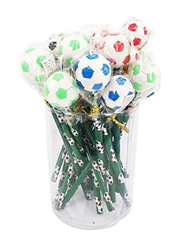 24 matite HB a forma di pallone da calcio con gomma grande 3D. Ideale come regalo di fine anno, regalo per studenti o per riempire la calza della Befana.
