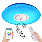 KSIBNW Lámpara de Techo LED Musical de 36W con Altavoz Bluetooth,Plafón de Techo LED de Cambio de color Regulable RGB de Ø40 CM,APP de Teléfono Móvil y Control Remoto, para Fiesta en Casa