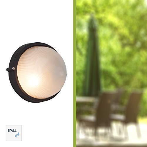 Brilliant Silvester Außenwand- und Deckenleuchte, 1x E27 max. 53 W, Metall/Glas, schwarz 96106/06