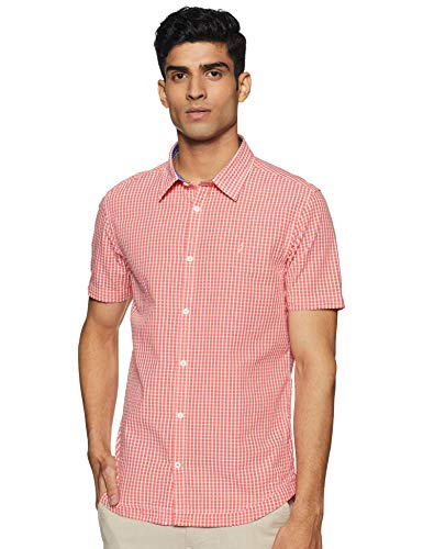 Indian Terrain Men's Checkered Slim fit Casual Shirt (ITMSH01213_Peach M)