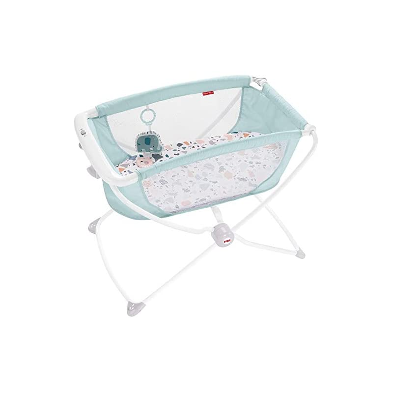 crib bedding and baby bedding fisher-price rock with me bassinet - pacific pebble, portable bassinet with rocking motion and soothing features for newborns and infants