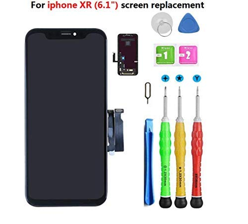 Screen Replacement Compatible with iPhone XR Screen Replacement 6.1 inch (Model A1984, A2105, A2106, A2108) Touch Screen Display digitizer Repair kit Assembly with Complete Repair Tools.