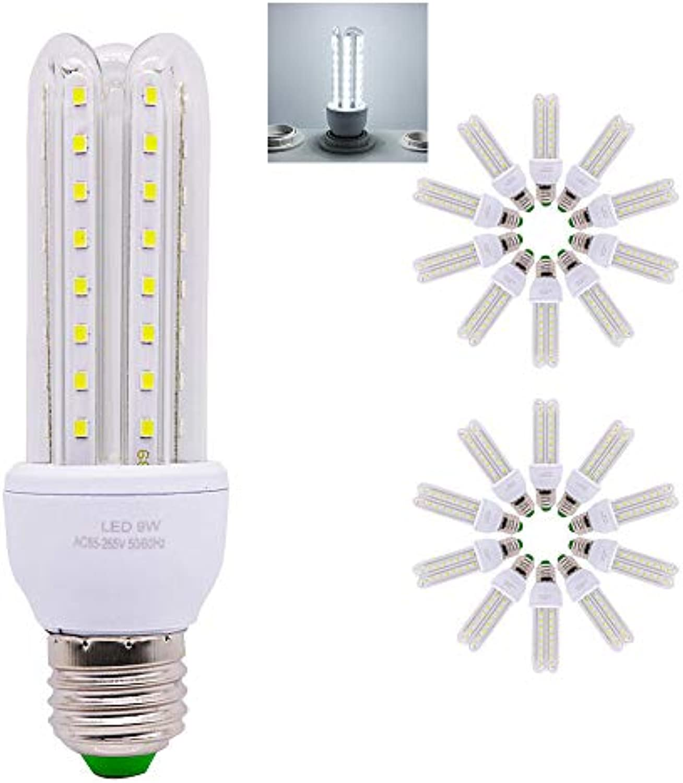 E27 LED Lampe U-Form Glas Glühbirne 9 W LED 700LM ersetzt 90 W Halogen Leuchtmittel, AC 220 V E27, Kaltwei (6000 Kelvin), Speichern 90% Energie,LED Energiesparlampe, 20 er Pack