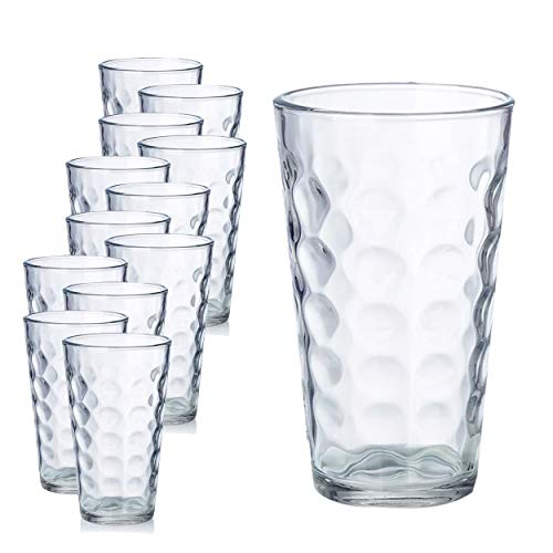 Chef Star Clear Raindrop Drinking Water Glasses Glassware Set with Heavy Base Premium Durable Drinkware Ideal for All Occasions 16 Ounces 12 Pack