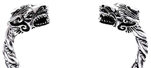 Windalf Handgearbeiteter Breiter Vikings Armreif ARCAR Ø 5.7 cm Wolfsschmuck Odins Wölfe Armschmuck Wikinger Mediaval Bohemian Armband 925 Sterlingsilber