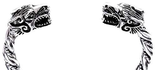 Windalf Vintage Handmade Vikings Armreif ARCAR Ø 5.7 cm Wolfsschmuck Odins Wölfe Armschmuck Wikinger Mediaval Bohemian Armband 925 Sterlingsilber