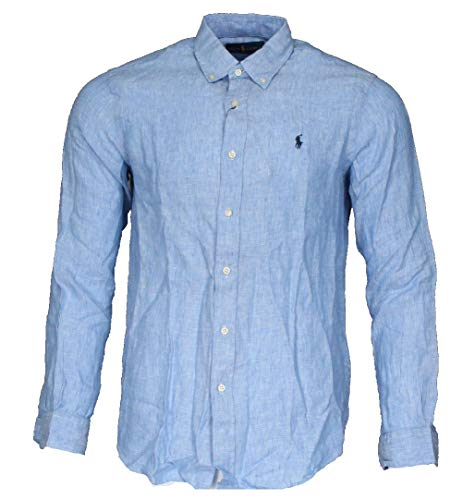 Ralph Lauren Camisa de manga larga para hombre, corte clásico. azul claro M