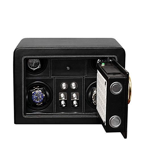 Xihou Uhraufzugvorrichtung, 4 + 0-Uhr-High-End-LED-Licht Fingerabdruck Tresor Automatische Uhraufzugvorrichtung, Silent Drehmotor, Anti-Magnetisierung, 35 * 25 * 25cm Uhrenbeweger (Color : Black)