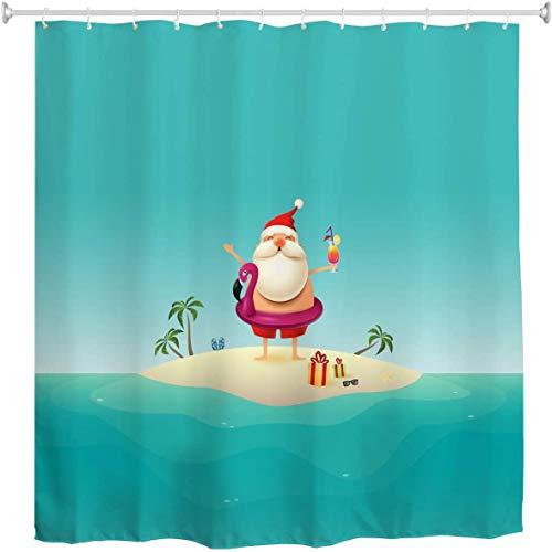 Cortina de ducha navideña, vacaciones de Papá Noel en la isla de arena en el océano Flotador inflable de flamenco Feliz Navidad Cortina de ducha de tela de poliéster impermeable con ganchos en pulgada