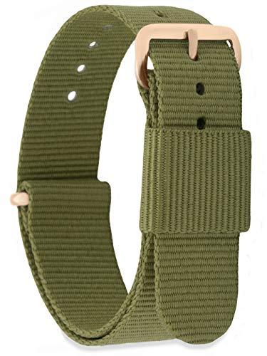 MOMENTO Damen Herren NATO Nylon Ersatz Uhren-Armband Strap mit Edelstahl-Schliesse in Rose-Gold und Nylon-Armband in Grün (Army) 20mm