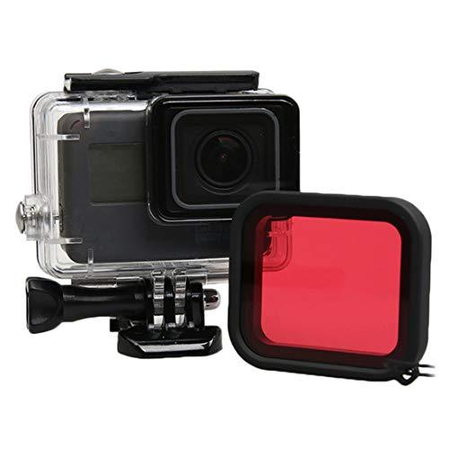 Casas impermeables de la cámara Para GOPRO HERO5 30M Caja protectora a prueba de agua PC y ABS a prueba de agua + lente de cámara Filtro cuadrado rojo con hebilla Montaje básico y tornillo largo y cor