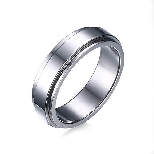 Anillos de acero inoxidable Spinner estilo refinado unisex anillo fresco simple anillo de boda 6mm joyería de los hombres oro plata (acero inoxidable, 11)