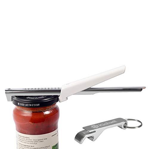 Kichwit Adjustable Jar Opener for Arthritis - All Metal Construction - Easily Opens 3/8' to 4' Jar and Bottle Lids - Free Bonus Bottle Opener Keychain Included