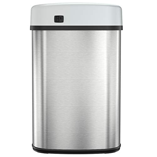 iTouchless 13 Gallon SensorCan Touchless Trash Can with Odor Control System, Shape, Kitchen Bin, Oval Stainless Steel